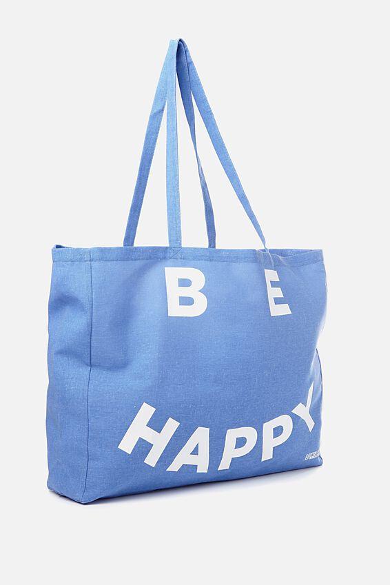 Typo Oversized Tote, BE HAPPY