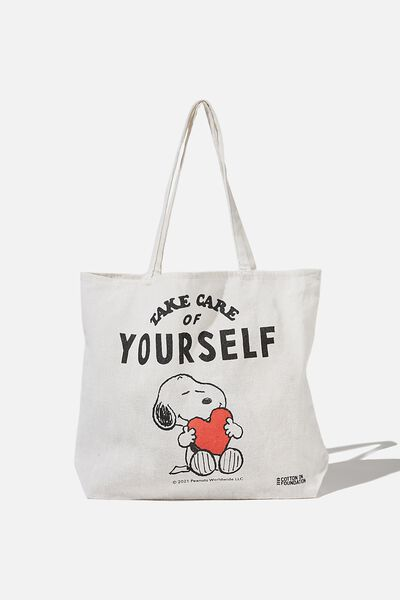 Foundation Co Brands Tote Bag, LCN PEA SNOOPY TAKE CARE OF YOURSELF
