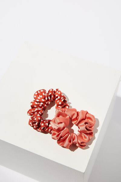 Cof Mini Scrunchie 2Pk, TERRACOTTA AND PRINT