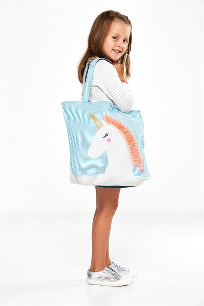 Foundation Kids Tote Bag, FRINGE UNICORN MINT
