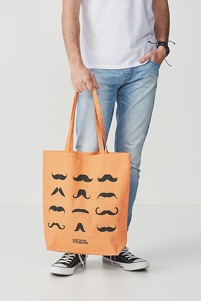 Cotton On Foundation Tote, MOUSTACHE ORANGE