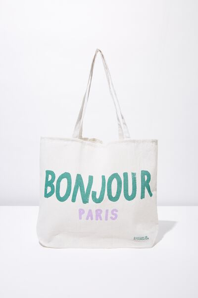 Cotton On Ladies Foundation Tote, BONJOUR PARIS