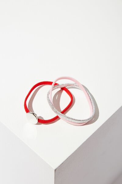 Disc Hair Band Set, RED/PINK