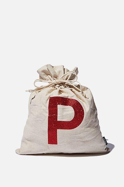 Foundation Personalised Letter Medium Gift Bag, NATURAL