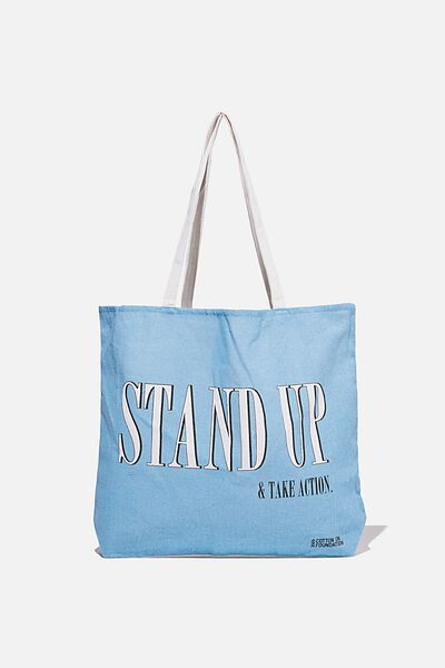Foundation Co Brands Tote Bag, STAND UP WAVE WASH BLUE