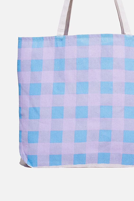 Foundation Co Brands Tote Bag, BLUE LILAC CHECK