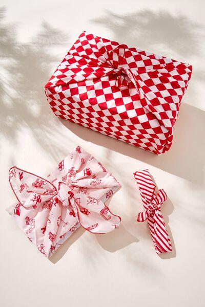 Foundation Body Fabric Gift Wrap Set, FESTIVE VACAY RED