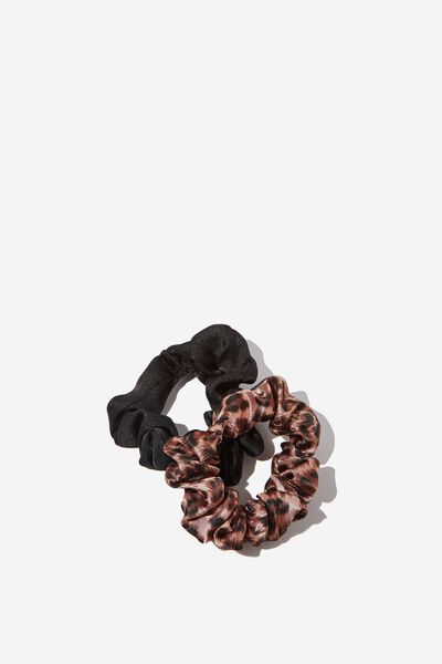 Cof Mini Scrunchie 2Pk, BLACK AND LEOPARD