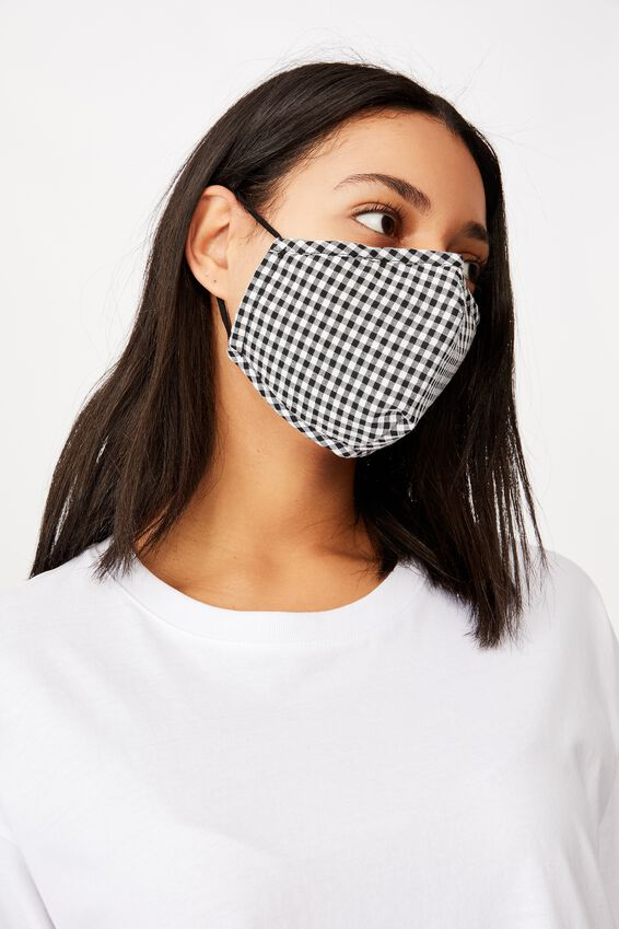 Foundation Face Mask Adults, BLACK GINGHAM
