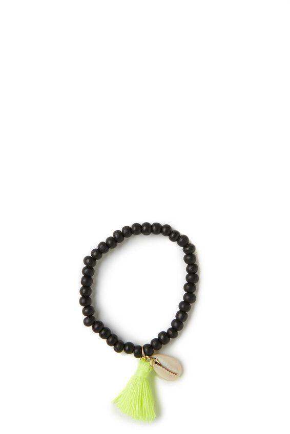 Cowrie Bracelet, BLACK / LIME
