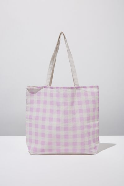 Cotton On Ladies Foundation Tote, GINGHAM ORCHID