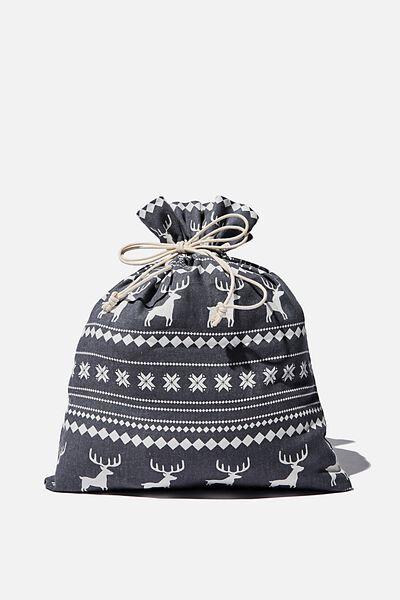 Foundation Medium Gift Bag, BLACK MARLE REINDEER