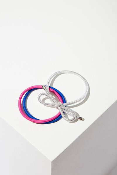 Bow Hair Band Pack, COBALT PINK
