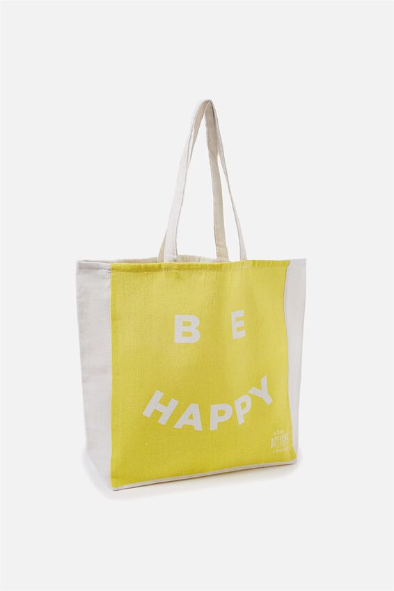 Typo Difference Tote Bag, BE HAPPY YELLOW