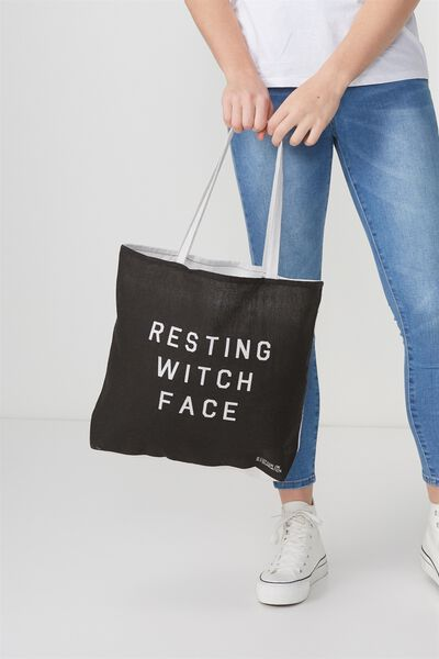 Cotton On Foundation Tote, RESTING WITCH FACE
