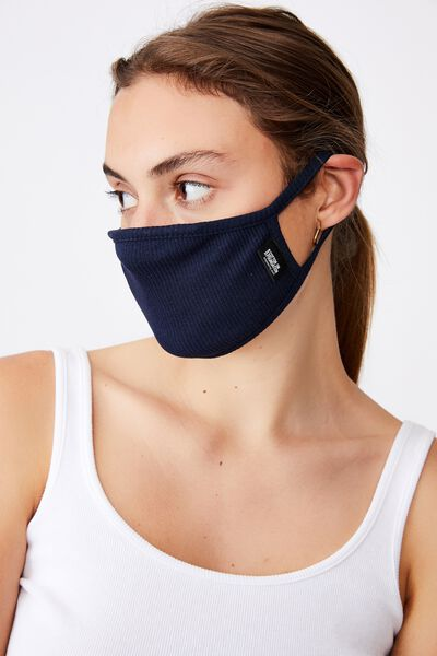 Foundation Rib Face Mask, NAVY