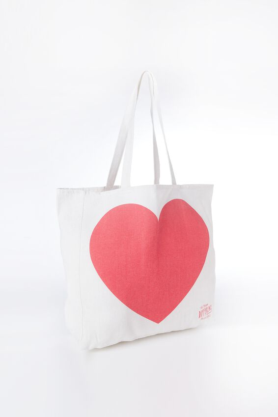 Typo Difference Tote Bag, BIG HEART