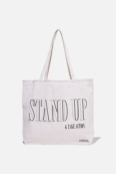 Foundation Co Brands Tote Bag, STAND UP BLACK