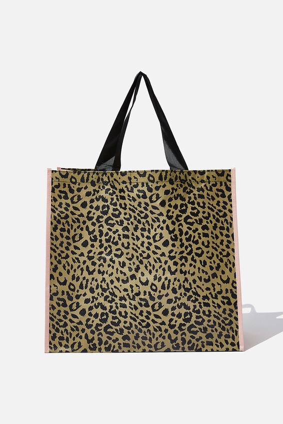 Foundation Large Shopper, OLIVE LEOPARD