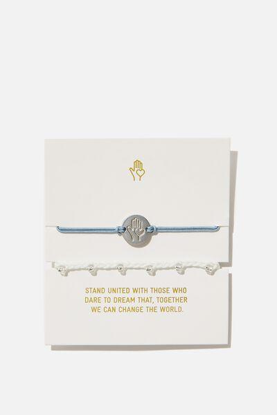 Online Exclusive Cof Charm Friendship Bracelets, BLUE HAND