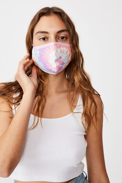 Foundation Face Mask Adults, RAINBOW SWIRL TIE DYE
