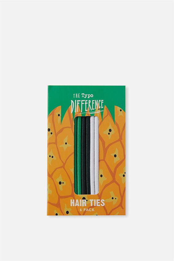 Typo Difference Boxed Hair Ties, PINEAPPLE