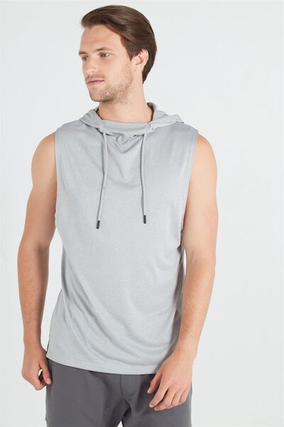 Coar Performance Hooded Muscle, ATHLETIC GREY HEATHER