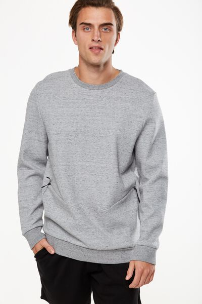 Coar Performance Double Knit Zip Crew, LIGHT GREY MARLE