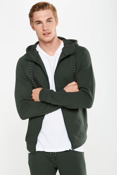 Coar Tech Track Zip Through Hoodie, HAMO GREEN