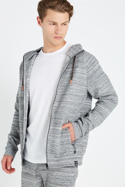 Coar Tech Track Zip Through Hoodie, MID GREY MARLE