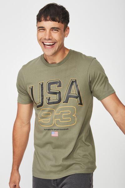 Active Graphic Tee, BUSH GREEN USA 93