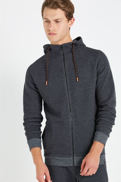 Coar Tech Track Zip Through Hoodie, BLACK HEATHER