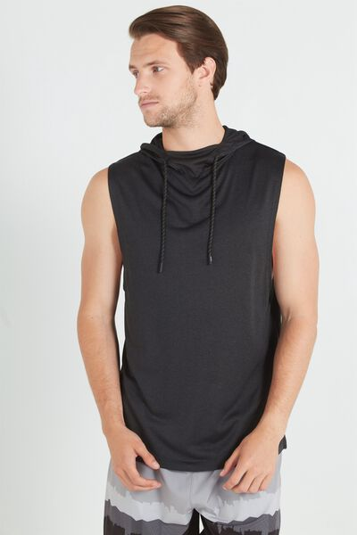 Coar Performance Hooded Muscle, BLACK