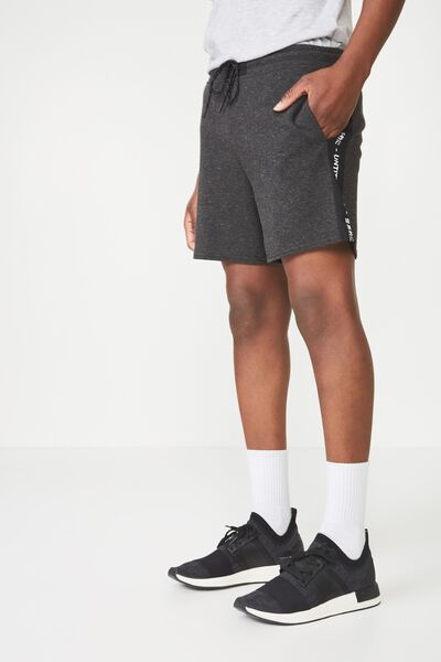 Coar Side Stripe Double Knit Short, BLACK FLECK