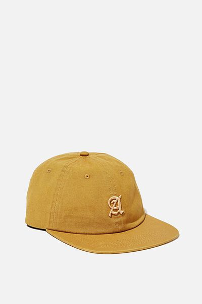 6 Panel Hat, GOLD SUN/CALIGRAPHY A
