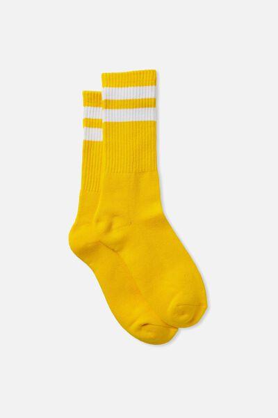 Single Pack Active Socks, YELLOW/WHITE SPORT STRIPE