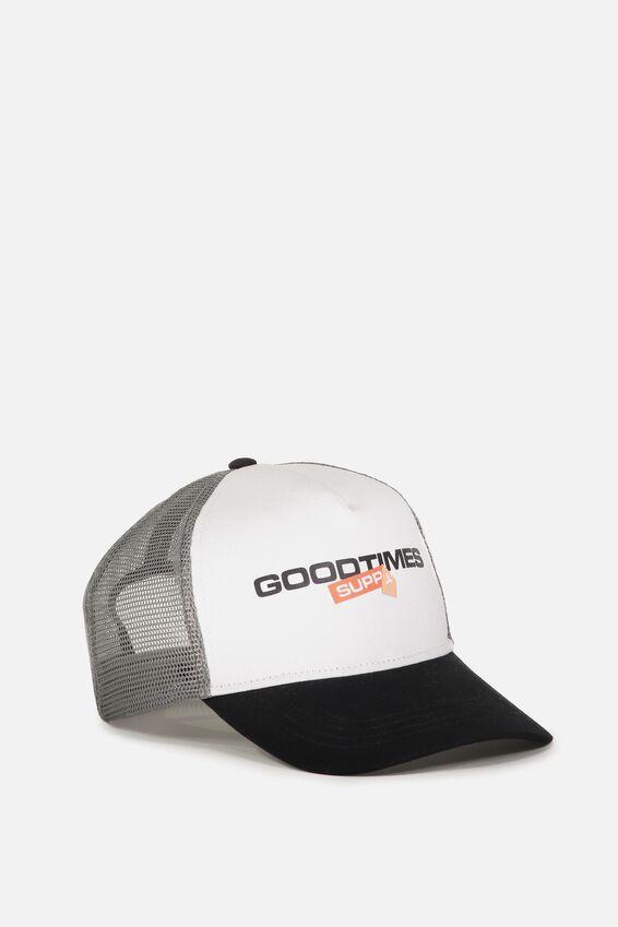 Wicked Print Trucker, WHITE/BLACK/GREY/GOODTIMES SUPPLY