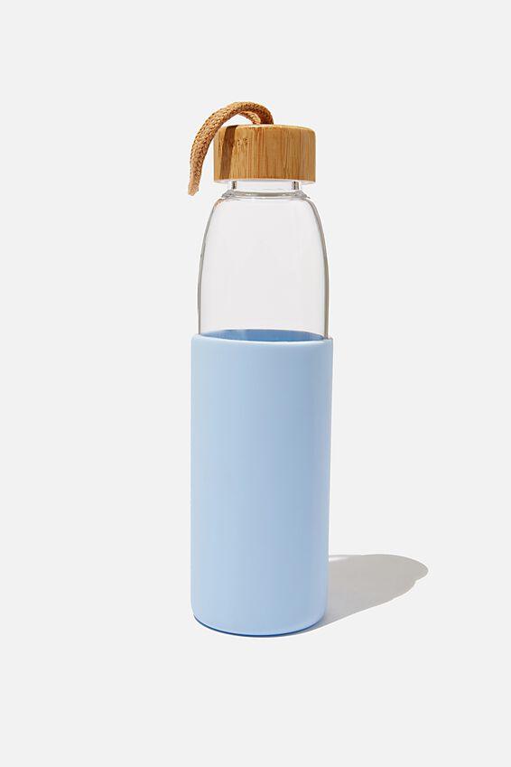 Reusable Glass Drink Bottle 550Ml, BLUE