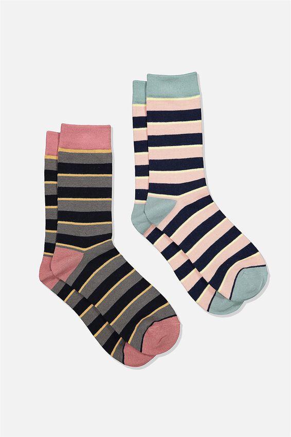 Dress Socks 2 Pack, STRIPE/NAVY/DUSTY PINK/GREEN