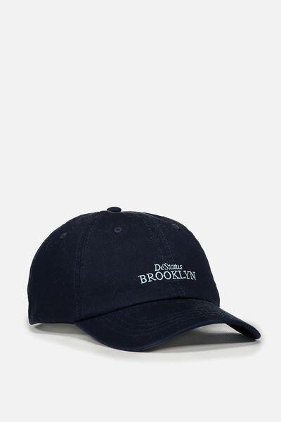 Strap Back Dad Hat, NAVY/DESTATUS