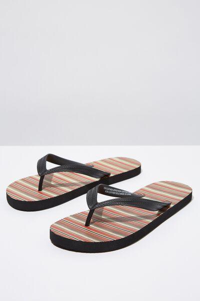 Bondi Flip Flop, BURNT ORANGE/BLACK STRIPE