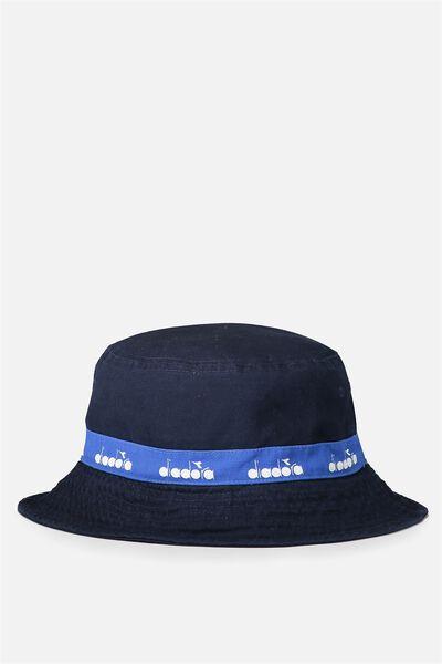 Diadora Bucket Hat, NAVY/DIADORA TAPE