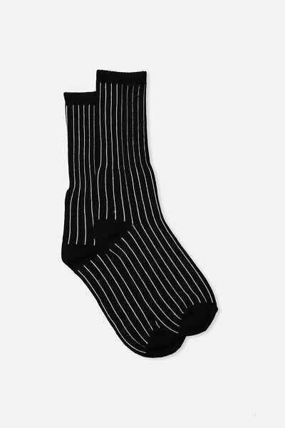 Single Pack Active Socks, BLACK PIN STRIPE
