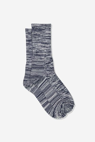 Single Pack Active Socks, NAVY MELANGE