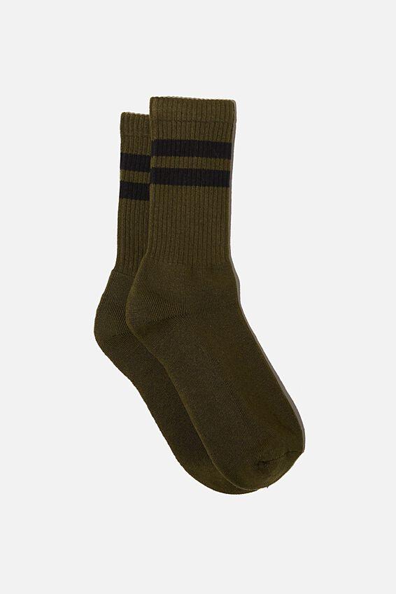 Single Pack Active Socks, KHAKI/BLACK/SPORT STRIPE