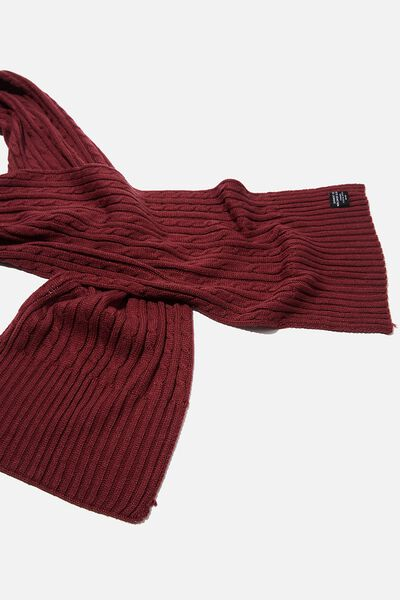 Chill Out Scarf, BURGUNDY/CABLE KNIT