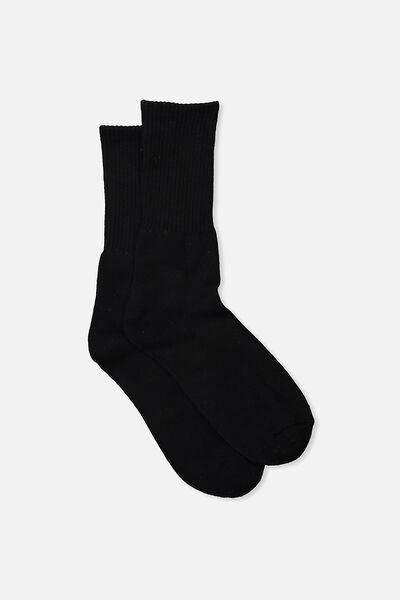 Single Pack Active Socks, BLACK SOLID