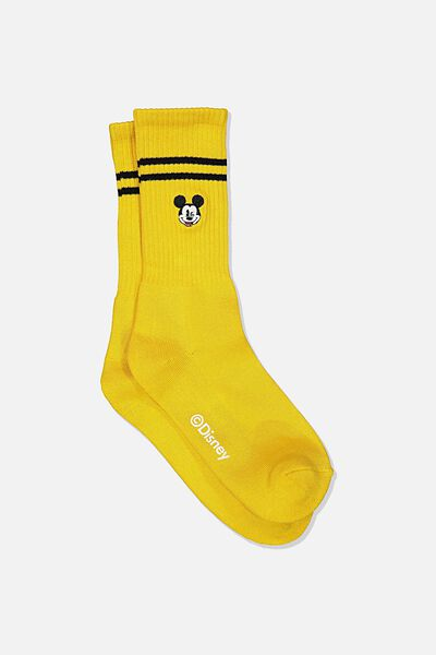 Single Pack Active Socks, LCN DIS YELLOW/BLACK MICKEY