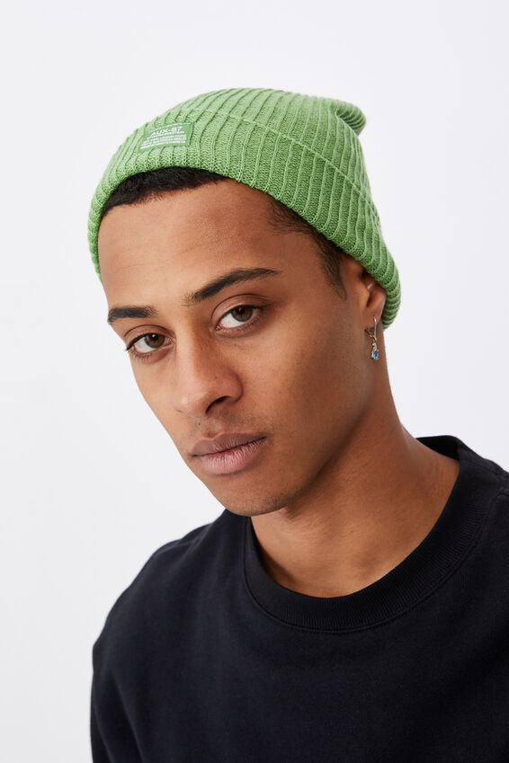 Basic Ribbed Beanie, APPLE GREEN/SUPPLY SURPLUS