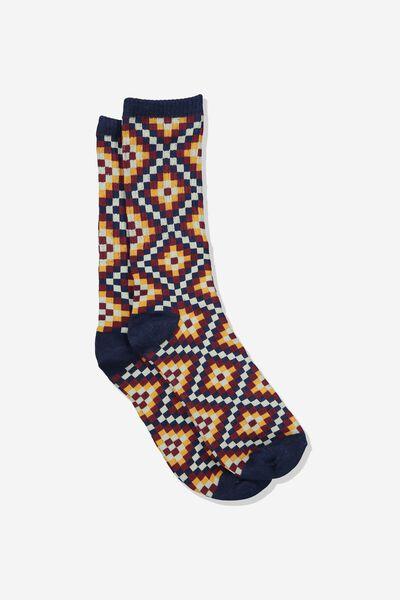 Single Pack Active Socks, NAVY/BROWN DIAMOND CHECK